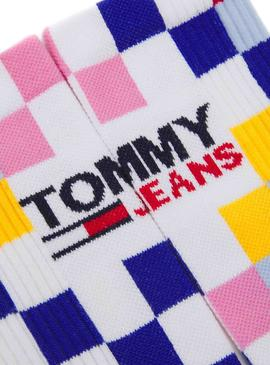 Calcetines Tommy Jeans Racercge Cuadros Blanco