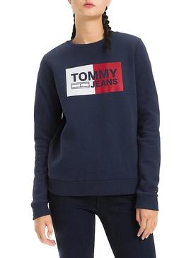 Sudadera Tommy Jeans Essential Logo Marino Mujer