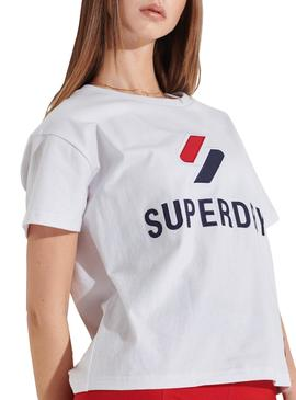 Camiseta Superdry Sportstyle Classic Blanco Mujer