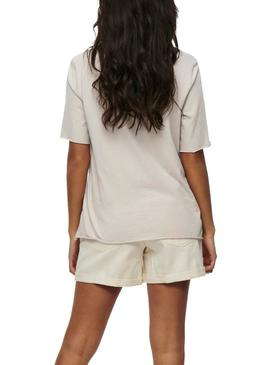 Camiseta Only Amelia Beige Para Mujer