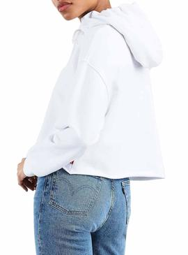 Sudadera Levis Graphic Raw Cut Sequin Blanco Mujer