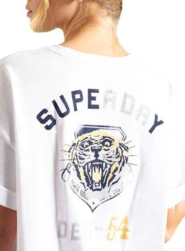 Camiseta Superdry Military Narrative Blanco Mujer