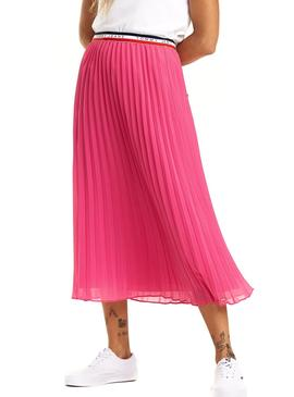 Falda Tommy Jeans Midi Pleated Rosa Mujer