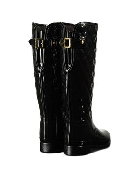 Bota Hunter Refined Gloss Quilt Tall Negro