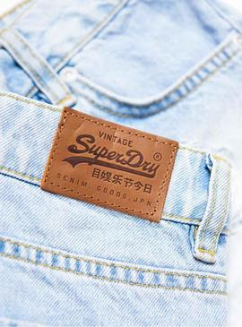 Short Superdry Eliza Light Denim Mujer