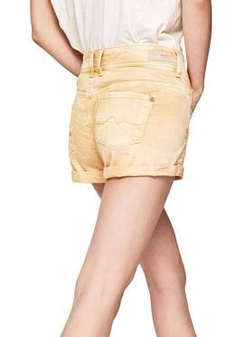 Short Pepe Jeans Siouxie Amarillo Mujer