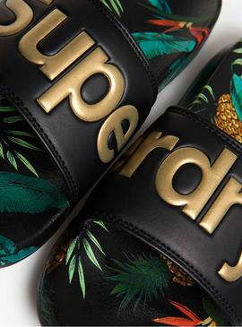 Chanclas Superdry Tropical Negro Mujer
