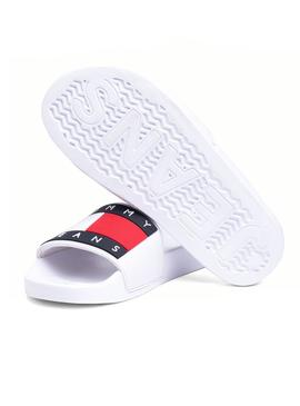 Chanclas Tommy Jeans Logo Flag Blanco Mujer