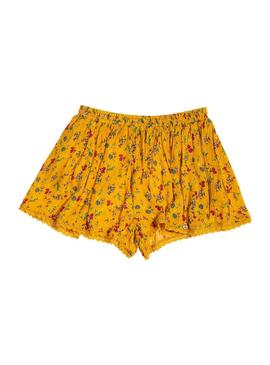 Shorts Superdry Dylan Flores Amarillo Mujer