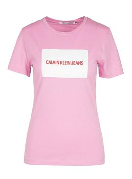 Camiseta Calvin Klein Institutional Box Rosa Mujer