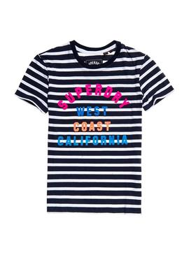 Camiseta Superdry West Coast Stripe Azul Mujer