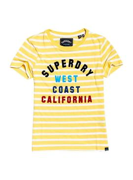 Camiseta Superdry West Coast Stripe Amarillo Mujer