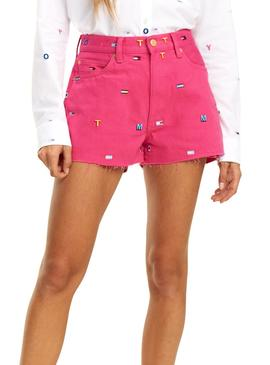 Short Tommy Jeans Monograma Rosa Mujer