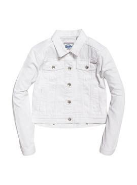 Cazadora Vaquera Superdry Girlfriend Blanco Mujer
