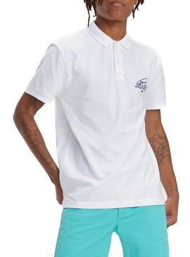 Polo Tommy Jeans Solid Graphic Blanco Hombre