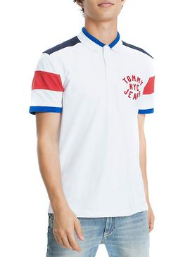 Polo Tommy Jeans Essential Badge Blanco