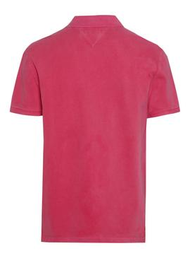 Polo Tommy Jeans Clasico Fucsia Hombre