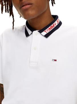 Polo Tommy Jeans Tipped Collar Blanco Hombre