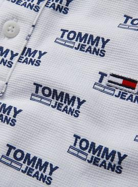 Polo Tommy Jeans Over Logo Blanco Hombre
