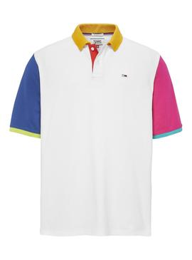 Polo Tommy Jeans Color Block Blanco Hombre