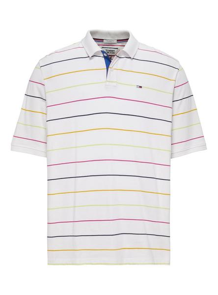 Polo Tommy Jeans Rayas Blanco Hombre