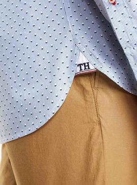 Camisa Tommy Hilfiger Micro Print Blanco Hombre