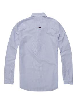 Camisa Tommy Jeans Rayas Azul Hombre