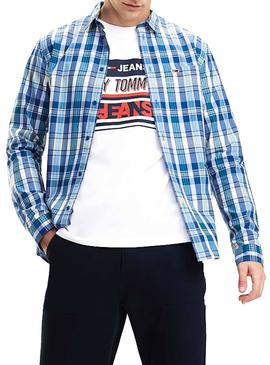 Camisa Tommy Jeans Essential Big Check Azul