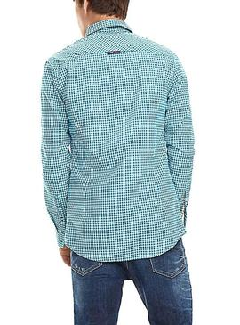 Camisa Tommy Jeans Essential Mid Check Azul Hombre