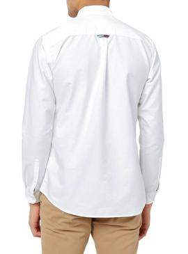 Camisa Tommy Jeans Oxford Blanca Para Hombre