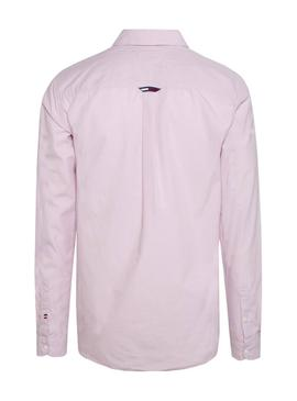 Camisa Tommy Jeans Poplin Rosa Hombre