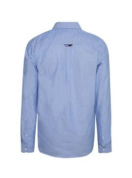 Camisa Tommy Jeans Oxford Azul Para Hombre