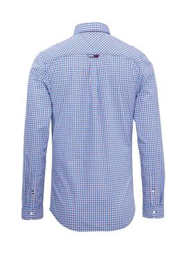 Camisa Tommy Jeans Multi Check Azul Claro Hombre