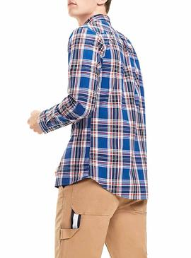 Camisa Tommy Jeans Multi Check Azul Hombre