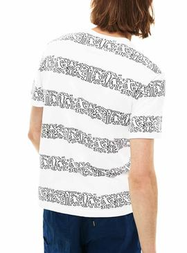Camiseta Lacoste Keith Haring Stripes Blanco