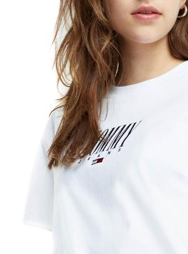 Camiseta Tommy Jeans Embroidery Blanco Mujer