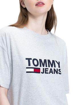 Camiseta Tommy Jeans Flag Gris