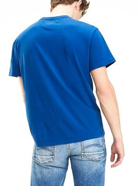 Camiseta Tommy Jeans Essential Split Azul Hombre