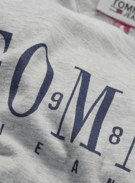 Camiseta Tommy Jeans Casual Gris Mujer