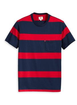 Camiseta Levis Sunset Pocket Stripes Rojo Hombre
