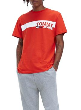Camiseta Tommy Jeans Essential Box Logo Rojo