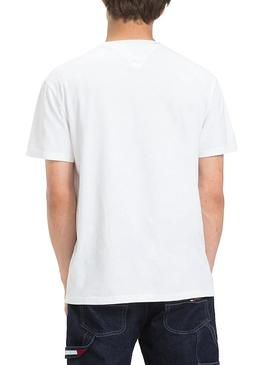 Camiseta Tommy Jeans Essential Split Blanco Hombre