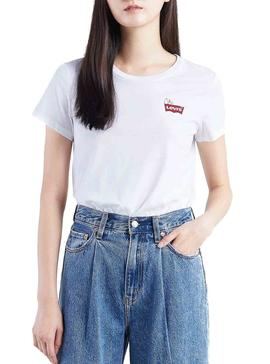 Camiseta Levis Peanuts Snoopy Chest Blanco Mujer