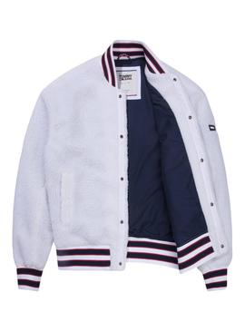 Bomber Tommy Jeans Teddy Blanco Hombre