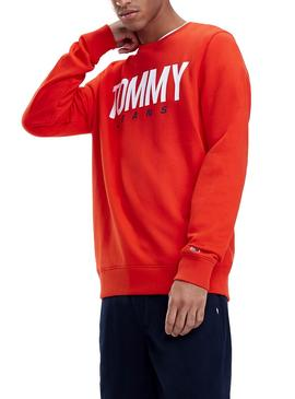 Sudadera Tommy Jeans Essential Logo Crew Rojo