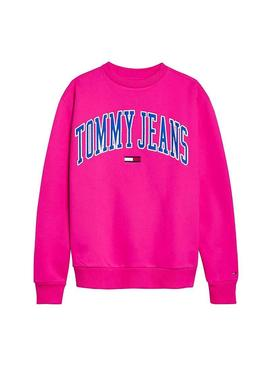 Sudadera Tommy Jeans Collegiate Crew Rosa Hombre