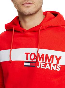 Sudadera Tommy Jeans Graphic Hoodie Rojo Hombre