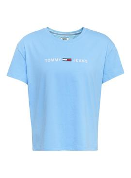 Camiseta Tommy Jeans Boxy Clean Logo Azul Mujer