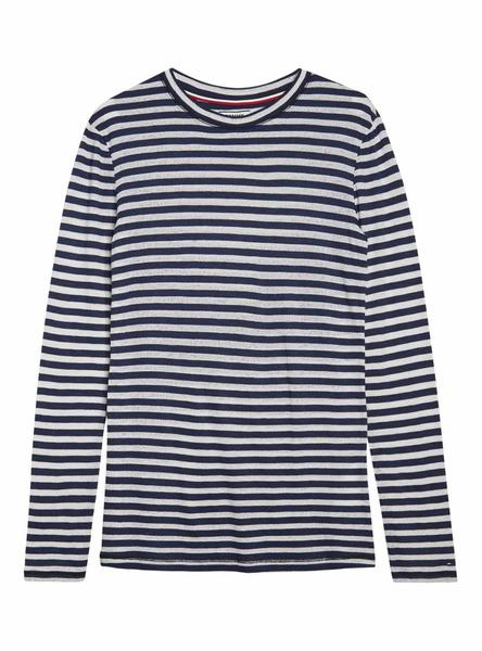 Camiseta Tommy Jeans Sheer Stripe Azul Mujer