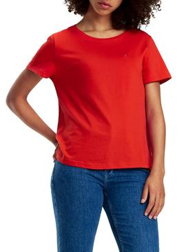 Camiseta Tommy Jeans Soft Rojo Mujer